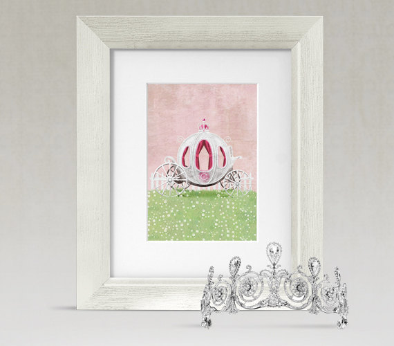 Garden Girls Cinderella Princess Carriage Nursery Wall Art Decor ...