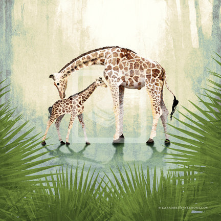 Jungle Safari Giraffe Family Wall Art Decor Print By Caramel ...