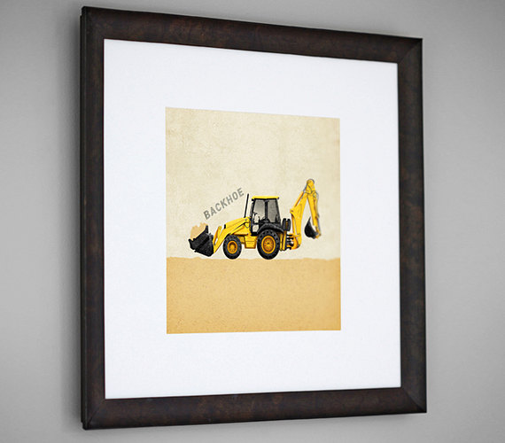 Construction Vehicle Yellow Backhoe Transportation 8x8 Wall Art Room ...